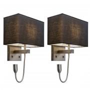 QAZQA Set of 2 Wall lamp Bergamo steel with black shade
