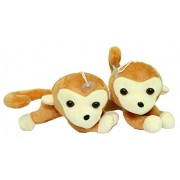 Kabir kirtika Toys' Cute Baby Monkey Group Stuffed Soft Plush Soft Teddy Bear Toy Kids Birthday Or Home,car Decoration and Birthday Gift for boy Or Girl.(Set of 2 Monkey).