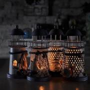 ELECTROPRIME® Iron Tea Light Candle Holder Lighthouse & Boat Living Room Tabletop Decor
