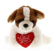 DolliBu St. Bernard Dog I Love You Valentines Stuffed Animal - Heart Message 7.5 Inch Super Soft Plush (K5345 5998)