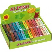 Display plastilina fluorescenta, 24 x 50 gr/display, ALPINO - 6 culori asortate