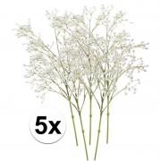 Bellatio flowers & plants 5x Witte gipskruid kunstbloemen 65 cm