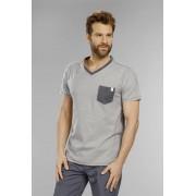 T-Shirt mit V-Ausschnitt, Farbe anthrazit gestreift, Gr.2XL