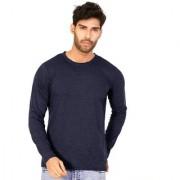 Navy Blue Melange Plain T Shirts Full Sleeve T Shirt