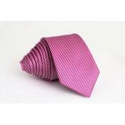 Pánská růžová slim kravata s proužky - 6 cm