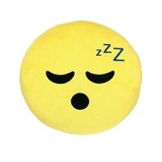 "Emoji Sleepy Face Expression Smiley Emoticons 9"" Round Pillow Plush Cushion - Yellow by Emoji Expressions"
