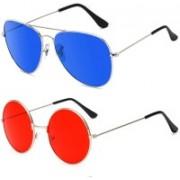 SRPM Aviator, Round Sunglasses(Blue, Red)