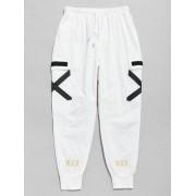 Zaful Pantalon Cargo de Jogging Rayé Croisé avec Poches Blanc XL