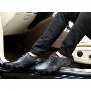 Casual Hombres Pure Color Skid Resistencia Magic Tape Zapatos De Cuero-Negro-44