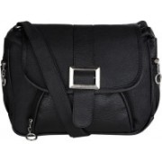 AANIA HAUTE Women Black PU, Cotton Sling Bag