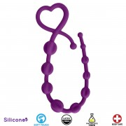 Hearts n Spurs Silicone Anal Beads- Purple