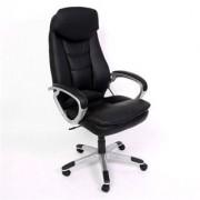 Sediadaufficio Poltrona per ufficio/Gaming ROBINSON, schienale extra alto, poggiatesta integrato, in pelle nera
