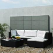 vidaXL 5-dijelna vrtna garnitura od poliratana s jastucima crna