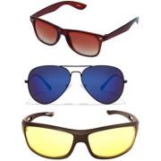Magjons Brown Wayfarer Mirror Aviator Sunglasses Combo Yellow Driving Goggale Set of 3 With box MJK022