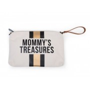 MOMMY'S TREASURES CLUTCH - OFF WHITE STRIPES BLACK/GOLD