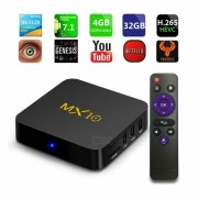 MX10 Android 7.1 Smart TV Caja Rockchip RK3328 Cuadruple nucleo 4 GB RAM 32 ROM KODI 2.4GHz Wi-Fi Set Top Box - enchufe de la UE