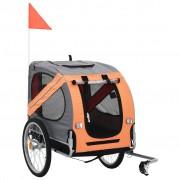 vidaXL Кучешко ремарке за велосипед, оранжево и кафяво
