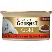 Gourmet Gold Délicatesse en Sauce 12 x 85 г - говеждо и пиле в доматен сос