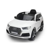 Audi Q7 Quattro Nou, Alb, Licență Originală, Baterie, uși care se deschid, 1 Scaun, 2 x 12V Motoare, Telecomandă 2,4 Ghz, Roți spumă EVA, Pornire lină