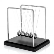 BOJIN Classic Newton Cradle Balance Balls Science Psychology Puzzle Desk Fun Gadget With Black Wooden Base- Small