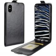 Para IPhone X Caballo Loco Textura Vertical Flip Funda De Cuero Con Ranura De La Tarjeta Y Marco De La Foto (negro)