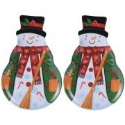 Bellatio Decorations 2x Kerst borden/serveerschalen sneeuwpop 28 x 18 cm - Bordjes