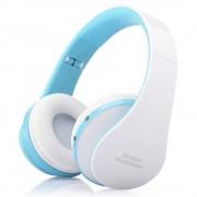 Over-Ear Headset Wireless Sports Mini with Wheat Bass Folding Bluetooth Headset - White / Blue