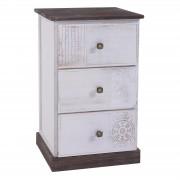 CARO-Möbel Nachttisch JUNA Shabby Chic mit 3 Schubladen