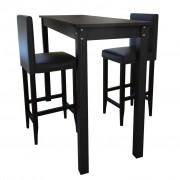 vidaXL Masă bar cu 2 scaune Negru