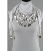 Duizend en één nacht muntjes sjaal wit/zilver