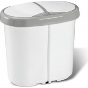Meliconi 141060 Pattumiera Raccolta Differenziata 2 Scompartimenti Capacità 25 Litri Colore Bianco/grigio - 141060 Multispace 25