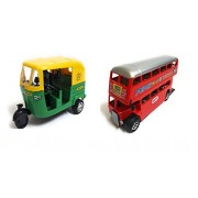 Varshas Green Auto & Double Decker Bus Toy Car - Small, Set Of 2