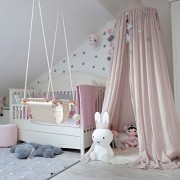 """LEDUNUS Princess Bed Canopy Mosquito Net for Kids Baby Crib Round Dome Kids Indoor Outdoor Castle Play Tent Hanging House Decoration Reading nook Cotton Canvas Height 240cm / 94.9 """""""