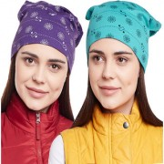 Vimal-Jonney Printed Purple And Printed Ferozi Beanie Cap For Women(Pack Of 2)