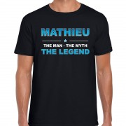 Bellatio Decorations Naam cadeau t-shirt Mathieu - the legend zwart voor heren M - Feestshirts