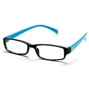 Black-Aqua Frame Rectangle Unisex Eyeglasses