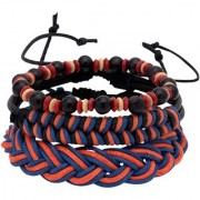 Dare by Voylla Cool Stacked Black Beads Leather and Braided Bracelet Set of 3
