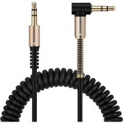Everycom 35mm Braided 5 Ft Long AUX Audio Cable with Right Angled Jack 90 Degree for iOSAndroid Black Gold