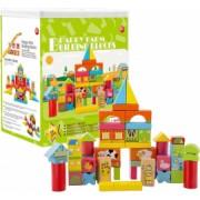 Cutie sortator de cuburi din lemn Ferma 52 piese - Krista and reg