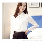 Long-sleeved Chiffon Lace Up Shirts With Bow Female All-match Autumn Tops White