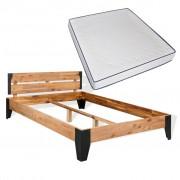 vidaXL Легло с матрак от мемори пяна акация масив и стомана 180x200 см