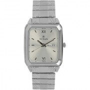 Titan Quartz Silver Square Men Watch 1581SM03