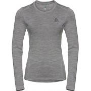 Odlo Suw Top Crew Neck L/S Natural 100% Merino Warm Dames Thermoshirt - Grey Melange - Maat XL