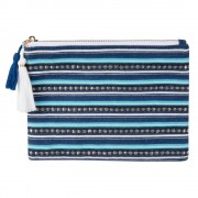 Maisons du Monde Pochette in cotone blu motivi a righe