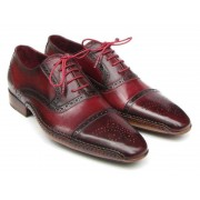 Paul Parkman Side Leather Upper Leather Sole Handsewn Cap Toe Oxford Shoes Red & Bordeaux 5032-BRD