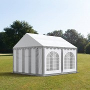 Intent24.fr Tente de réception 3x4m PVC 500 g/m² gris imperméable barnum, chapiteau