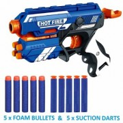 Hot Fire Blaze Storm Soft Bullet Gun with 5 Foam Bullets 5 Suction Darts