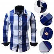 Camisa De Manga Larga Hombres Cuello Hacia Abajo Shirt-Azul