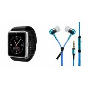 Mirza GT08 Smart Watch and Zipper Earphone for LG OPTIMUS IT(GT08 Smart Watch with 4G sim card camera memory card |Zipper Earphone )