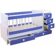 Бебешко легло с чекмеджета Мебели Богдан NAD320BM, цвят син